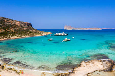 Aerial view of Balos beach near Gramvousa island in Crete. Magical turquoise waters, lagoons, Balos beach of pure white sand. Balos bay in Crete island, Greece. Stock Photo