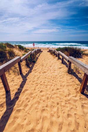 View of the Monte Clerigo beach on the western coastline of Portugal, Algarve. Stairs to beach Praia Monte Clerigo near Aljezur, Costa Vicentina, Portugal, Europe. 写真素材