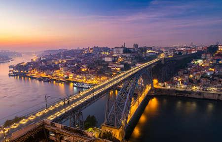 Scenic view of the Porto Old Town pier architecture over Duoro river in Porto, Portugal