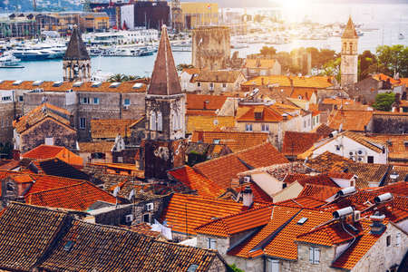 View at town Trogir, old touristic place in Croatia Europe. Trogir town coastal view. Magnificent Trogir, Croatia. Sunny old Venetian town, Dalmatian Coast in Croatia.