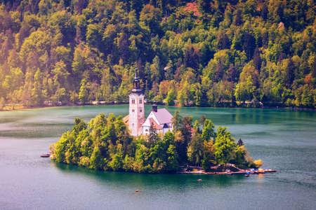 Lake Bled with St. Marys Church of Assumption on small island. Bled, Slovenia, Europe. The Church of the Assumption, Bled, Slovenia. The Lake Bled and Santa Maria Church near Bled, Slovenia. 写真素材