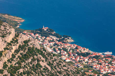 Bol on Brac island panoramic aerial view, Dalmatia, Croatia. Town of Bol from Vidova Gora aerial view, Island of Brac, Dalmatia, Croatia. 写真素材