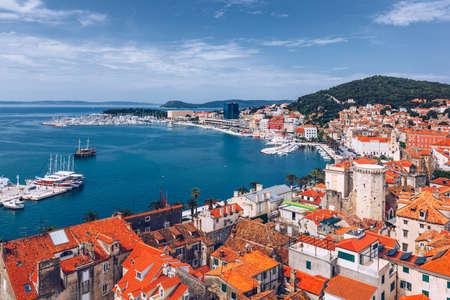 Split waterfront and Marjan hill aerial view, Dalmatia, Croatia.  Split panoramic view of town, Dalmatia, Croatia. 写真素材