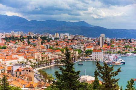 Split, Croatia (region of Dalmatia). Mosor mountains in background. Split panoramic view of town, Dalmatia, Croatia.