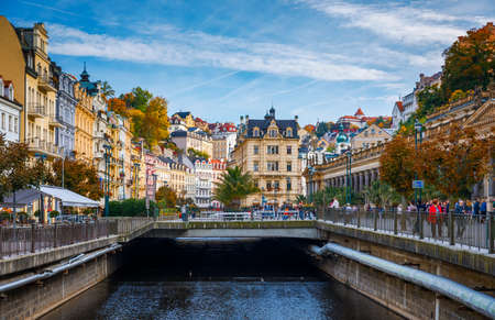 Karlovy Vary, Czech Republic - September 30, 2017: View of old town of Karlovy Vary (Carlsbad) with tourists, Czech Republic, Europe