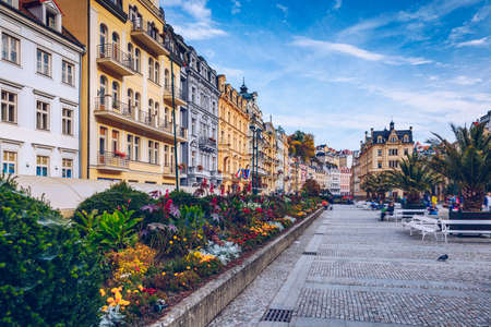 Autumn view of old town of Karlovy Vary (Carlsbad), Czech Republic, Europe