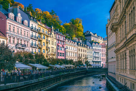 Karlovy Vary, Czech Republic - September 30, 2017: World-famous for its mineral springs, the town of Karlovy Vary (Karlsbad) was founded by Charles IV in the mid-14th century. Редакционное