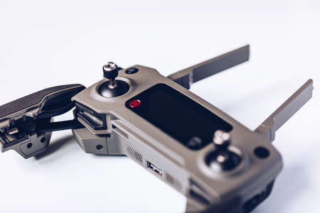 Prague, Czech Republic - August 31 , 2018: DJI Mavic 2 Pro controller, on white background. DJI Mavic 2 Pro one of the most portable drones in the market, with Hasselblad camera.