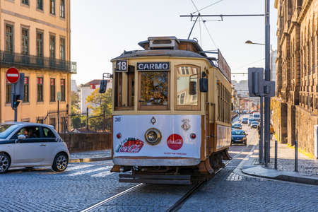 Porto, Portugal - November 15, 2017: Famous vintage tram on street of Old Town, Porto, Portugal