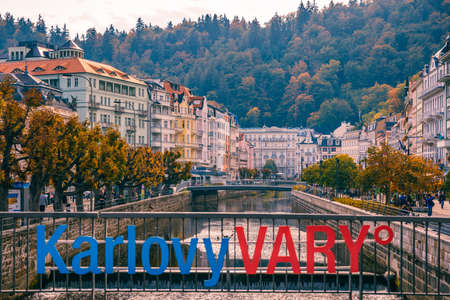 Karlovy Vary, Czech Republic - September 30, 2017: View of old town of Karlovy Vary (Carlsbad) with tourists, Czech Republic, Europe 写真素材 - 129998855