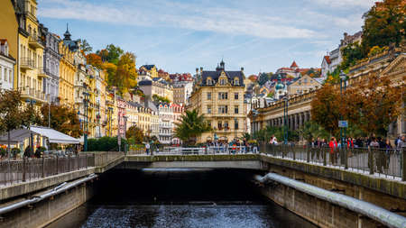 Karlovy Vary, Czech Republic - September 30, 2017: World-famous for its mineral springs, the town of Karlovy Vary (Karlsbad) was founded by Charles IV in the mid-14th century. 報道画像