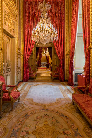 Paris, France - July 6, 2018: Apartments of Napoleon III in Louvre Museum. Louvre Museum is the biggest museum in word. Luxury royal furniture exhibition of French leaders in Louvre museum.