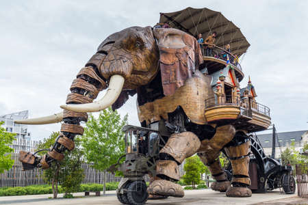 Nantes, France - May 3, 2017: The Great Elephant is part of the Machines of the Isle of Nantes carrying passengers in city square in Nantes, France Publikacyjne