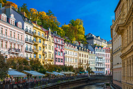 Karlovy Vary, Czech Republic - September 30, 2017: View of old town of Karlovy Vary (Carlsbad) with tourists, Czech Republic, Europe 写真素材 - 129998825