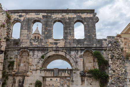 Diocletian's Palace's peristyle in front of Cathedral of Saint Domnius' bell tower in Split, Croatia. Diocletian palace  site in Split, Dalmatia, Croatia.
