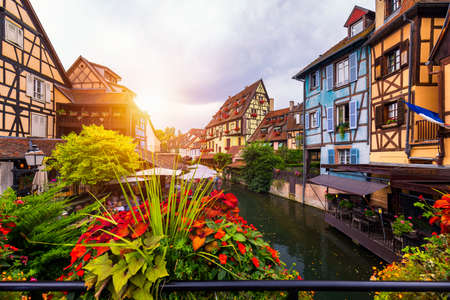 Colmar, Alsace, France. Petite Venice, water canal and traditional half timbered houses. Colmar is a charming town in Alsace, France. Beautiful view of colorful romantic city Colmar, France, Alsace.