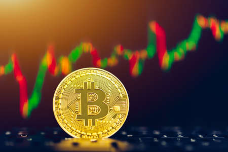 Bitcoin gold coin and defocused chart background. Virtual cryptocurrency concept. Bitcoins on ladder chart cryptocurrency concept. Bitcoin currency with blockchain concept. Zdjęcie Seryjne
