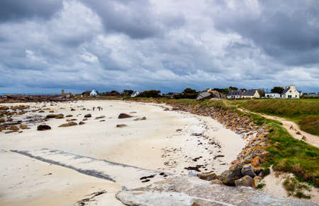 Sightseeing around Lighthouse Pontusval at Brignogan-Plages, Finistere. Brittany (Bretagne), France