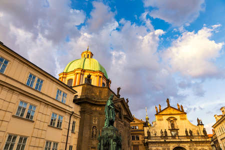 Church and hospital of St. Francis of Assisi in the vicinity of the Charles Bridge in Prague. Czech Republic. Crusader Square, Church of St. Francis of Assisi, Church of St. Salvator, Prague, Czechia. Stok Fotoğraf