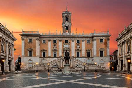 Piazza del Campidoglio, on the top of Capitoline Hill, with Palazzo Senatorio and the equestrian statue of Marcus Aurelius.