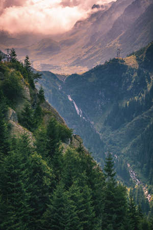 Balea waterfall in Fagaras mountains, Sibiu,Transylvania, Romania