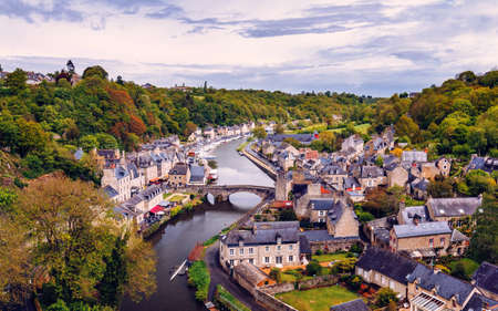 The picturesque medieval port of Dinan on the Rance Estuary, Brittany (Bretagne), France Stock Photo
