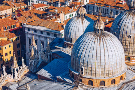 View of the dome of San Giorgio Maggiore church and Giudecca Canal in Venice, Italy. Amazing aerial view on the beautiful Venice, Italy. Venice from above, Venice landmark with old buildings. Imagens