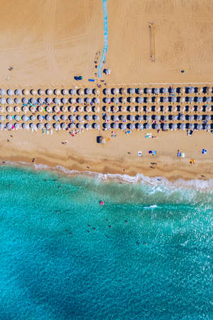 Aerial shot of beautiful turquoise beach Falasarna (Falassarna) in Crete, Greece. View of famous paradise sandy deep turquoise beach of Falasarna (Falassarna) in North West, Crete island, Greece.