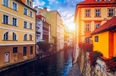 Certovka (Devil's Canal), sometimes also called little Prague Venice. Czechia. Certovka Canal running through local neighbourhood of Prague, Czech Republic. Lesser Quarter of the Old Town in Prague.