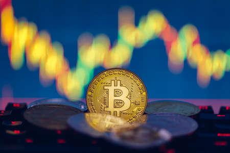 Set of cryptocurrencies with Bitcoin, Etherium, Ripple, Litecoin. Cryptocurrencys new digital money. Bitcoin on the front as the leader. Bitcoin as most important cryptocurrency. Banque d'images - 137153093