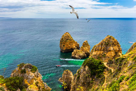 Panoramic view, Ponta da Piedade with seagulls flying over rocks near Lagos in Algarve, Portugal. Cliff rocks, seagulls and tourist boat on sea at Ponta da Piedade, Algarve region, Portugal. Banque d'images - 137153105