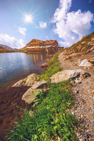 Beautiful volcanic Balea lake at high altitude, on Fagaras mountain, Romania