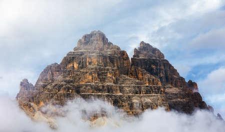 Drei Zinnen or Tre Cime di Lavaredo, Sextener Dolomiten or Dolomiti di Sesto, South Tirol, Dolomiten mountains view, Italian Alps Banco de Imagens - 137153139