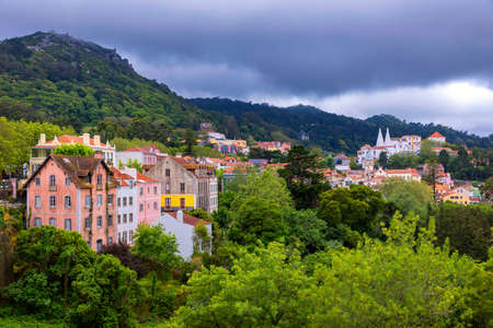 Portuguese city of Sintra, Sintra city near Lisbon with Sintra National Palace in the background. Sintra, Portugal. Standard-Bild - 137153219
