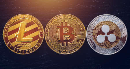 Bitcoin, litecoin and ripple coins currency finance money on graph chart background. Bitcoin as most important cryptocurrency concept. Stack of cryptocurrencies with a golden bitcoin in the middle. Imagens - 137153226
