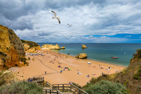 Wooden walkway to famous Praia Dona Ana beach with turquoise sea water and cliffs, flying seagulls over the beach, Portugal. Beautiful Dona Ana Beach (Praia Dona Ana) in Lagos, Algarve, Portugal. Standard-Bild - 137153511