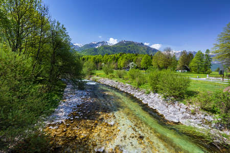 Amazing river in the mountains, Mostnica Korita, Julian alps in Slovenia Banque d'images - 138376742