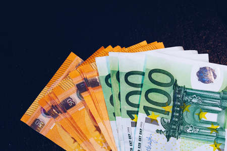 Euro money, Euro cash background. Banknotes of the european union. Euro cash. Many Euro banknotes of different values. Banque d'images - 138377226