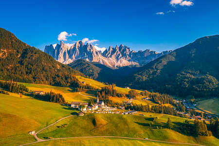 Santa Maddalena (Santa Magdalena) village with magical Dolomites mountains in autumn, Val di Funes valley, Trentino Alto Adige region, South Tyrol, Italy, Europe. Santa Maddalena Village, Italy. Imagens