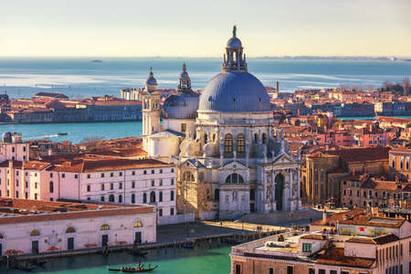 Aerial View of the Grand Canal and Basilica Santa Maria della Salute, Venice, Italy. Venice is a popular tourist destination of Europe. Venice, Italy.