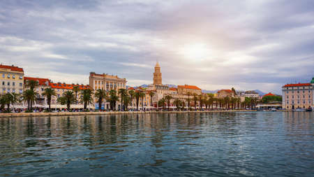 Split, Croatia (region of Dalmatia). UNESCO World Heritage Site. View of Split city, Diocletian Palace and Mosor mountains in background. Split panoramic view of town, Dalmatia, Croatia.