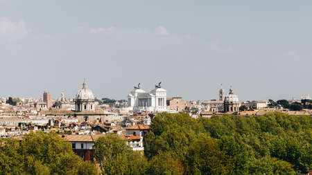 Skyline of Rome, Italy. Panoramic view of Rome architecture and landmark, Rome cityscape. Rome postcard