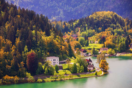 Lake Bled Slovenia. Beautiful mountain lake with beautiful houses on the shore. Bled lake is the most famous lake in Slovenia. Bled, Slovenia.