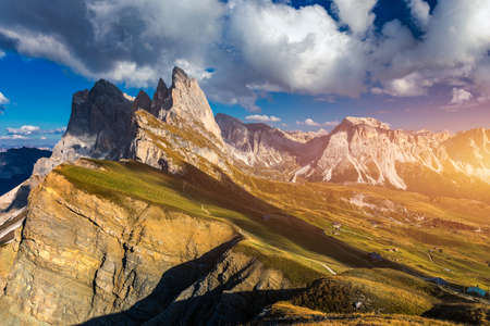 View on Seceda peak. Trentino Alto Adige, Dolomites Alps, South Tyrol, Italy. Odle mountain range, Val Gardena. Majestic Furchetta peak. Odles group seen from Seceda, Santa Cristina Val Gardena. Imagens