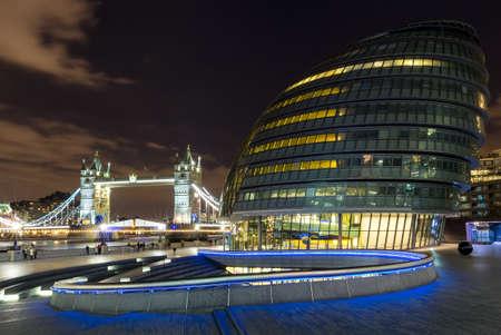 Tower Bridge and City Hall at night, London, England.