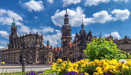 Dresden Cathedral of the Holy Trinity or Hofkirche, Dresden Castle in Dresden, Saxony, Germany 에디토리얼
