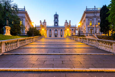 Italy Rome Capitoline hill city square museum buildings and statue illuminated at sunrise