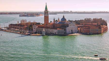 Aerial view at San Giorgio Maggiore island, Venice, Italy. Canal Grande with San Giorgio Maggiore church, Venice, Italy. The church of San Giorgio Maggiore on Isola San Giorgio, Venice