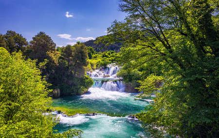 Waterfalls Krka, National Park, Dalmatia, Croatia. View of Krka National Park, Roski Slap location, Croatia, Europe. Beautiful world of Mediterranean countries. Traveling concept background. Foto de archivo - 139275565