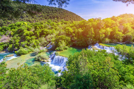 Waterfalls Krka, National Park, Dalmatia, Croatia. View of Krka National Park, Roski Slap location, Croatia, Europe. Beautiful world of Mediterranean countries. Traveling concept background. Stockfoto - 139275561